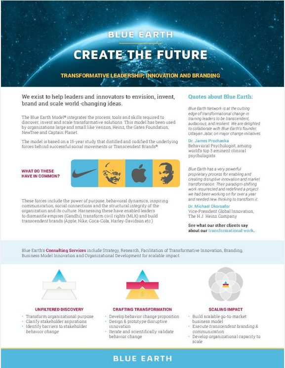 Blue Earth Flier: Create The Future